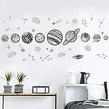 Stickers muraux pour salon, Space Planet Sketch Système solaire Enfants chambres étoiles Terre extérieure Soleil Saturne Mars École Décor Home Stickers Image Bureau Mural Art