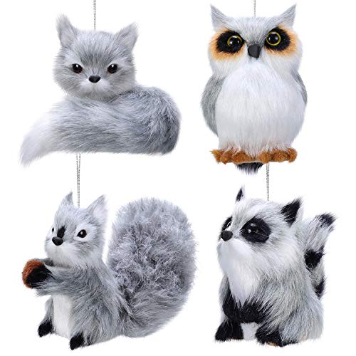 Sumind 4 Pieces Plush Animal Ornament Woodland Fur Animal Ornaments Furry Gray Animal Ornament Christmas Hanging Ornament for Christmas Tree Decoration