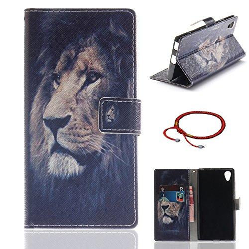 GOCDLJ Schutzhülle für Sony Xperia XA1 Plus PU Leder Flip Cover Tasche Ledertasche Handytasche Hülle für Handyhülle Protective Case Etui Bumper Schale Wallet Design Löwe