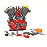 King Of Toys Educational Build-Your-Own Engine Over 25 Piece Play Set Kit with LIGHT'S & SOUNDS (Build & Re-build) 'Special KID'S SAFE Storage Bag' to protect from loosing pieces included.