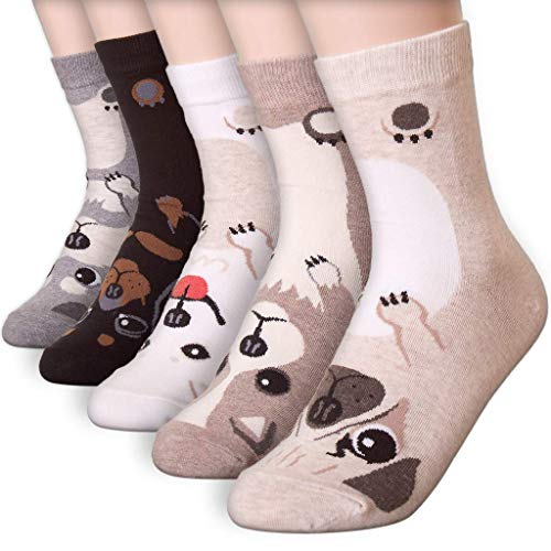 Happytree, calzini da donna, confezione da 3-6 pezzi, divertenti, freschi, motivo con gatti, cani, fumetti, animali, ottima idea regalo, taglia unica Personaggio cane 5 Taglia unica