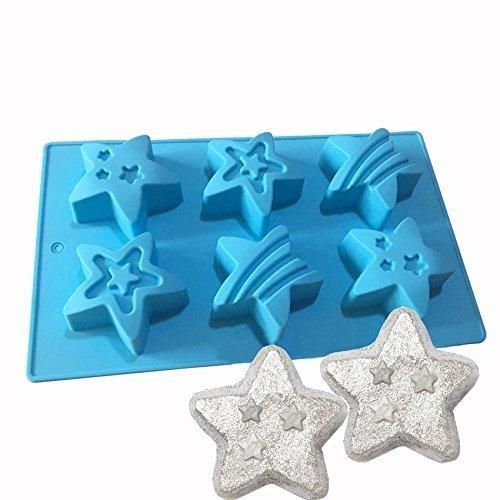 Jun de Noël mignon en silicone Moule à Bombe de bain Fizzies étoile Moule Savon Moule 6Cavités
