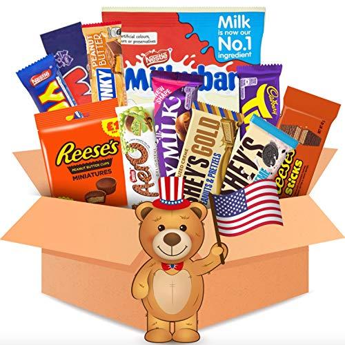 QueenBox® 12 Teile - Schokolade aus aller Welt - USA Süßigkeiten Box zum naschen oder verschenken - Hersheys - Nerds - Reeses & mehr amerikanischer Süssigkeiten Mix
