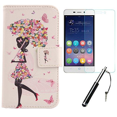Lankashi Umbrella Girl 3in1 Set PU Flip Leder Tasche Für ZTE Blade A452 5
