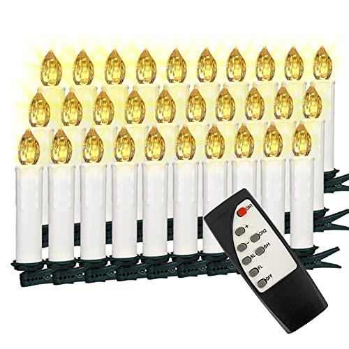 VASEN 10/20/30/40er Kabellose Christbaumkerzen LED Kerzen Warmweiß Bunt Weihnachtsbaumkerzen mit Timer Fernbedienung (30er)