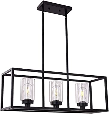 XILICON Black Dining Room Chandeliers Lighting Fixture Linear Pendant Modern 3-Light with Glass Shades Vintage Farmhouse Ceil