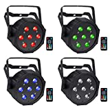 LED Par Lights, YeeSite 70W 7LEDs RGBW Stage Lights by Remote and DMX Control, LED Uplights for Wedding DJ Party Stage Lighting - 4 Pack