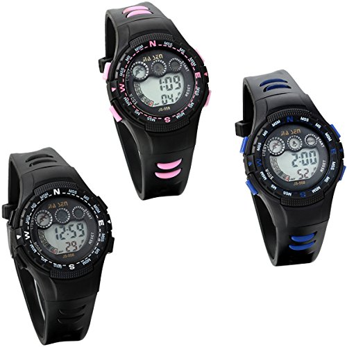 JewelryWe 3個 腕時計 子供用 キッズ腕時計 男の子 ボーイズ腕時計 ボーイズウォッチ アナデジ表示 アラーム機能付き かっこいい スポーツウォッチ バックライトディスプレイ クロノグラフ 防水