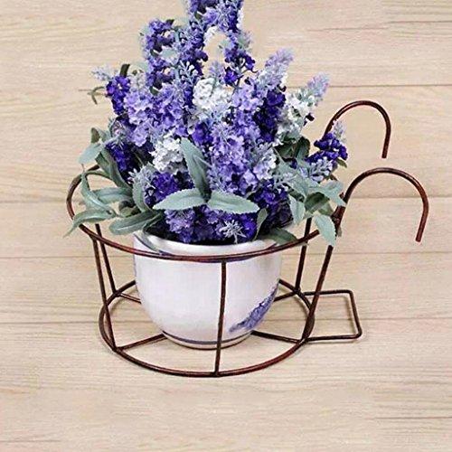 CKH 3 Pièces de Style Européen Garde-Corps Racks Fer à Fleurs Racks Suspendus Fleur Pot Pot De Fer Pot De Fleur Balcon (Color : Bronze)