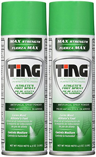 Ting Antifungal Spray Powder for Athlete's Foot, Jock Itch, Ringworm | Max Strength | 4.5-Ounces | 2-Pack