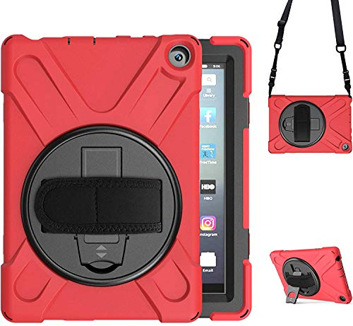 TSQ Case Compatible with Kindle Fire HD 8 with Stand 2020 | Case for Amazon Fire HD 8 Tablet 10th Generation | Fire HD 8 Plus Tablet Case Shockproof Rugged Kids Cover w/ Hand Shoulder Strap | Red
