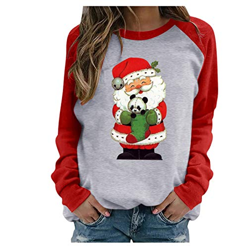 Pullover Tops for Women Christmas Graphic Sweatshirts Casual Long Sleeve Blouses Shirts Sweaters