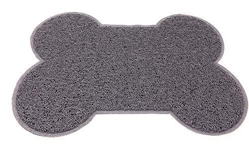 Vetrineinrete® Tappetino per Animali a Forma di Osso Base per Ciotole scodelle Cani e Gatti Tappeto Impermeabile Antiscivolo 56x43 cm (Grigio) A105
