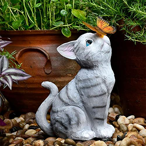 WANGQI Gartendeko Figuren Led Solarleuchte Gartenfigur Aus Harz Gartenstatuen Niedlichen Katze Top Schmetterling Ornamente Harz Solarleuchten Im Freien Kreative Tiere