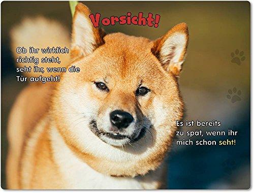Merchandise for Fans Blechschild/Warnschild/Türschild - Aluminium - 15x20cm - mit Spruch - Motiv: Shiba Inu - 01