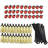 Tamkyo 30個の真鍮製噴霧ノズル 調整可能 30個の8穴の赤いドリッパー エミッター 30個の4/7MM固定スタンドドサポート 4/7mmホース用