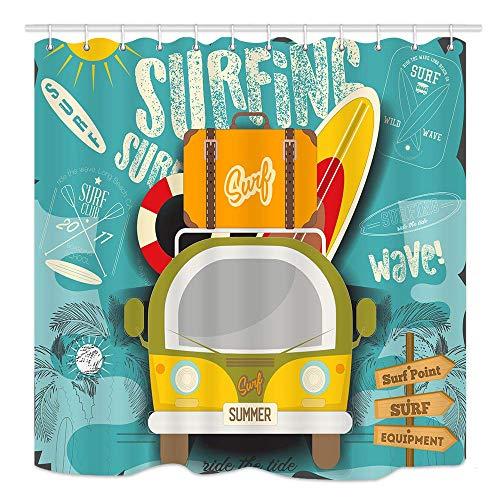 CICIDI Cortina de ducha retro hawaiana con tablas de surf y maleta vintage, tela impermeable para decoración de baño, con ganchos, 72 x 72 pulgadas