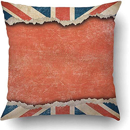Moily Fayshow Fundas de Cojines Azul Inglés Grunge Bandera británica en Rasgado con Gran Espacio vacío Idioma Rojo Inglaterra Gran Bretaña United Pillowcase 45 X 45 Cm