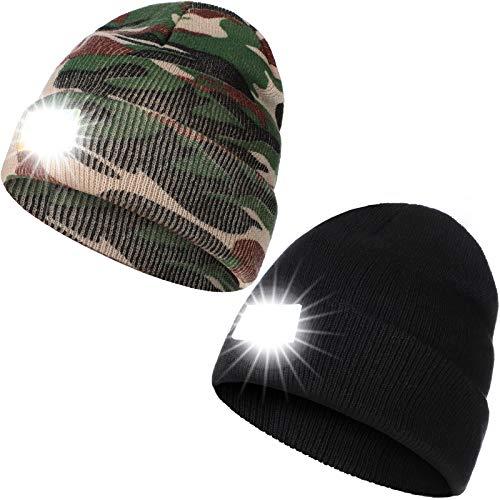 berretto con luce led 2 Pezzi Berretto Cappello a Maglia a LED Unisex
