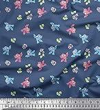 Soimoi Blau Viskose Chiffon Stoff Blätter, Blumen &