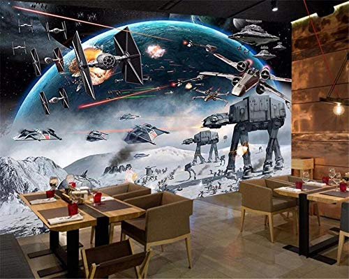 "Mural Wall Stickers Murals 157.48""X110.24"" Spaceship Robot War Wall Decor Photo Wallpaper Mural 3D Self-Adhesive Wall Decals Poster Picture Wall Background Decoration"