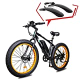 ECOTRIC Fat Tire Electric Bike Beach Snow Bicycle 26' 4.0 inch Fat Tire ebike 500W 36V/13AH Electric Mountain Bicycle with Shimano 7 Speeds Lithium Battery (Orange) w/Free Fenders