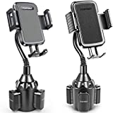 [Upgraded] Car Cup Holder Phone Mount Adjustable Gooseneck Automobile Cup-Holder-Phone-Car-Mount for iPhone 12 Pro Max/XR/XS/X/11/8 Plus/6s/Samsung S20 Ultra/Note 10/S8 Plus/S7 Edge(Black+Black)