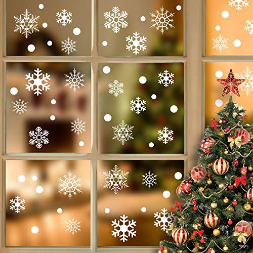 LIHAO 130 Stück Fenstersticker Schneeflocken Weihnachten Selbstklebend Fensterbilder Winterdeko Fensteraufkleber Weihnachtsdeko Statisch Haftende für Fenster Wand Tür