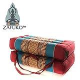 Zafuko Yoga, Meditation, Kundalini Pilates Foldable Cushion (Zafu) on-The-go Wide Long Block, Bolster