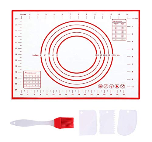 Hoja de alfombrillas de silicona antiadherentes para hornear, alfombrilla grande de silicona para hornear con medidas de 40 × 60 cm, para hacer galletas, pan y pasteles (5 juegos)