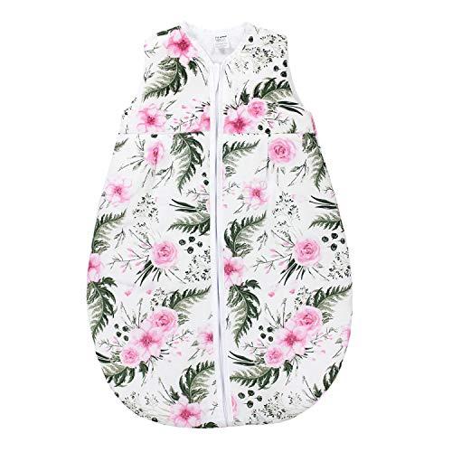 TupTam Saco de Dormir sin Mangas Calentado para Bebé, Flores Rosa, 62-74