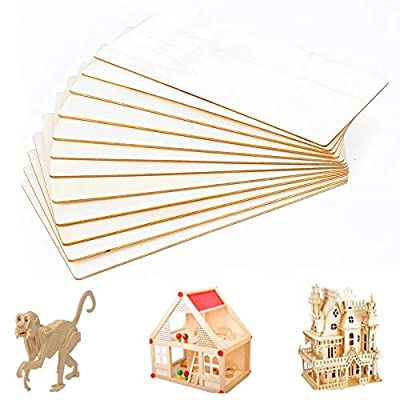 FOGAWA Balsa Wood Sheets 8 x 4 inch Unfinished Unpainted Basswood MDF Thin Hobby Wood Baltic Birch Plywood for Cricut Craft Model House Airplane Ship DIY 12pcs