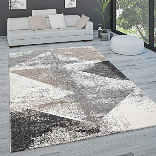 Paco Home Tapis De Salon Tapis De Salon Poils Ras Pastel Tapis Vintage Divers Styles, Dimension:160x230 cm, Couleur:Gris