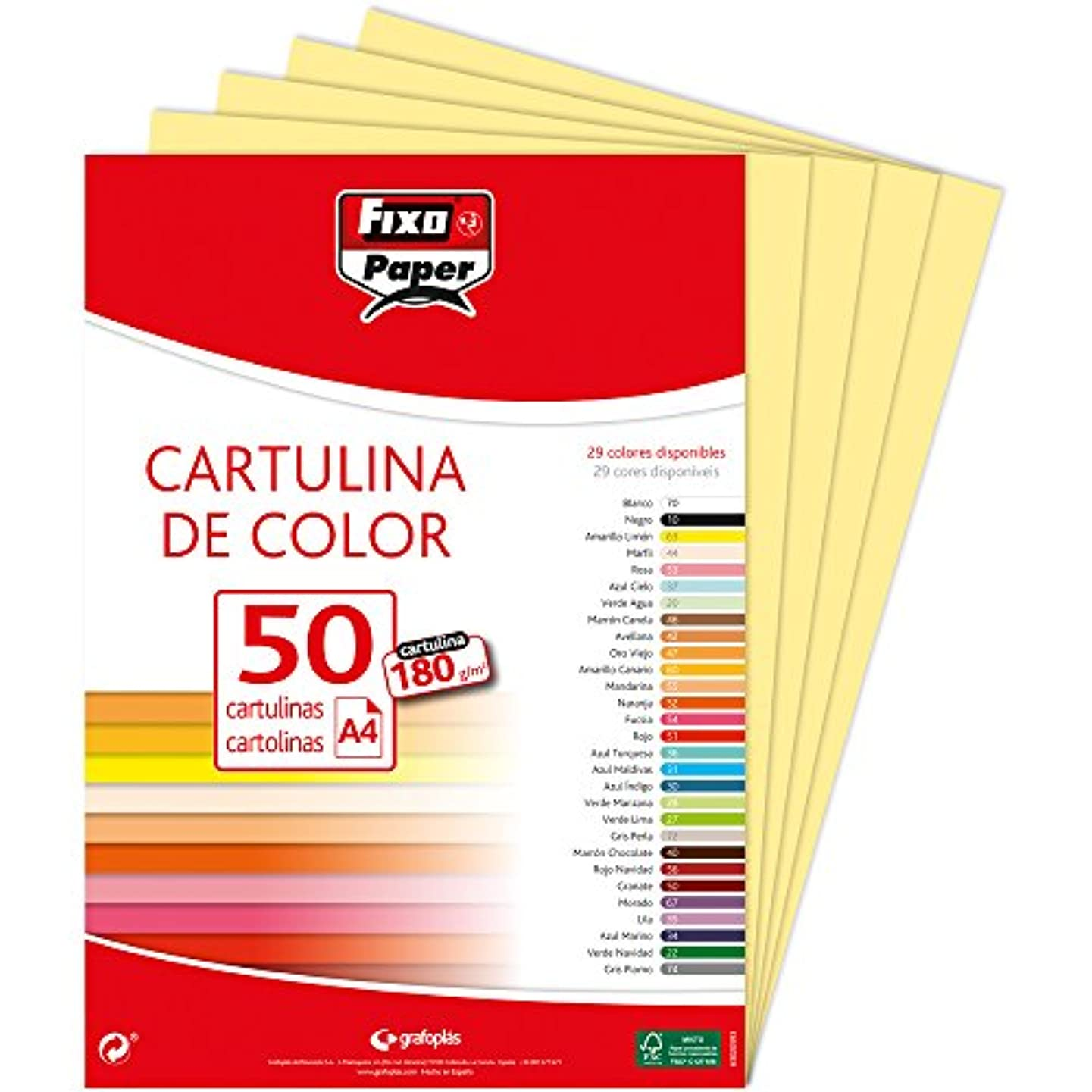 Fixo 11110363?–?Pack of 50?Card, A4, Yellow Parchi