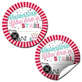 Lights Camera Action Movie Star-Themed Valentine Party Favor Sticker Labels for Girls, 40 2' Party Circle Stickers by AmandaCreation, Great for Classroom Valentines, Envelope Seals, Gifts & Treats