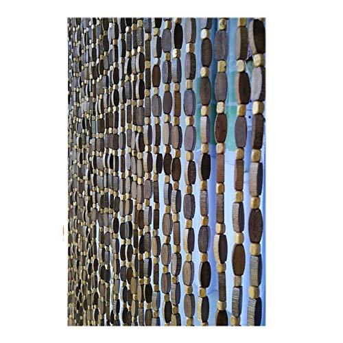 Refue Cortina Cuentas de Madera para Puerta, marrón, Cortinas de Cuentas Interior 40-80 Hilos, Panel de separación, para Puerta de Entrada Patio, Personalizable