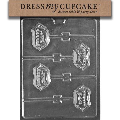 Dress My Cupcake DMCH168 Chocolate Candy Mold, Fangs Lollipop, Halloween
