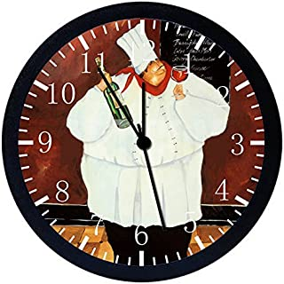 Fat Chef Black Frame Wall Clock E43 Nice For Gift or Office Home Wall Decor 10