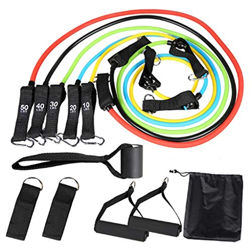 HUO FEI NIAO 11 Stück Widerstandsband, 5 Stück Fitnessband, stapelbar 150 Pfund, Physiotherapie, Fitnesstraining, Yoga, Muskeltraining für Männer