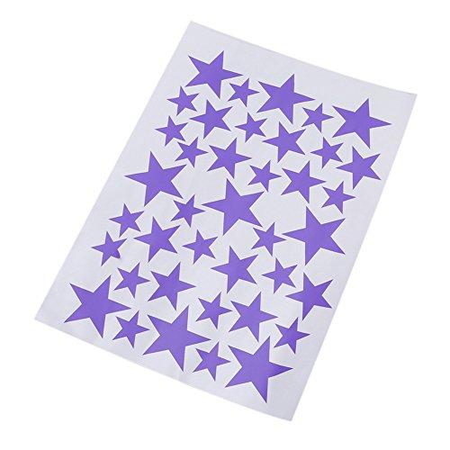 ODN 39pcs Stickers Autocollants Étoile à Cinq Rayons en Vinyle Décoration de Salle (violet)