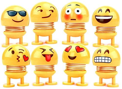 Kesv 8 Stücke Nette Emoji Wackelkopf Puppen, lustige Smiley Springs Tanzen Spielzeug für Auto Armaturenbrett Ornamente,Party Favors, Geschenke, Hauptdekorationen