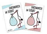 Glückwunschkarte zur Geburt | Storch Baby | Postkarten-Set 10 Stück | 5 Mädchenkarten und 5 Jungenkarten | modernes Design