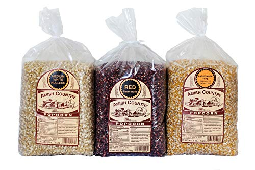 Sale!! Amish Country Popcorn | 3 - 6 Pound Variety Bundle | Red, Ladyfinger & Medium White Kernels |...