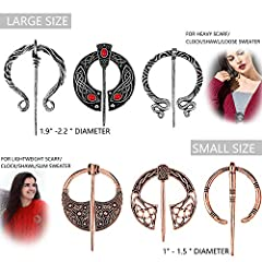 Hicarer 6 Pieces Vintage Viking Brooches Cloak Pins Scarf Shawl Buckle Clasp Pin Brooch Penannular Brooch for Men Women Costume Accessory, Antique Silver and Rose Gold #1