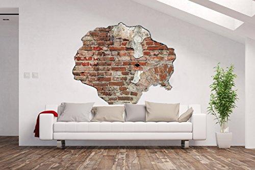 Vlies Fototapete / Poster / 3D Wandillusion /Loch in der Wand *Backsteine /Mauer / Beton Wand / Ziegel Steine*