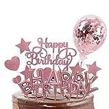 SunAurora Happy Birthday Cake Topper, Decorazione per Torta, Candeline Compleanno, Coriandoli Palloncino, Stelle Cuori Topper Torta, per Matrimonio Compleanno Baby Shower Party Decorazioni (Oro Rosa)
