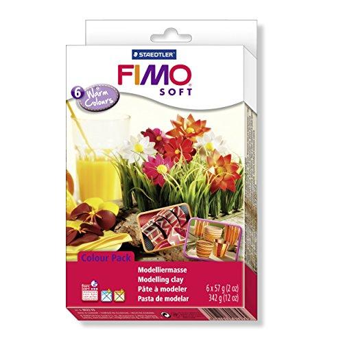 Staedtler 8023 03 - Fimo Soft Materialpackung, 6 Blöcke, 57 g, farblich Sortiert