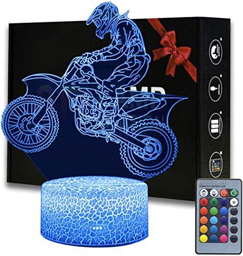 Luz de noche LED 3D para niños Dirt Bike Ilusión Estado de ánimo Lámpara de 16 colores que cambian luces de ilusión óptica con acrílico plano, base ABS, cable USB para vacaciones