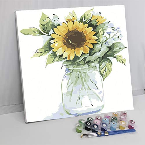Framed Paint by Number Color Angel DIY Oil Acrylic Paint by Numbers for Kids Sized 12'X16' Painting on Canvas with Frame for Home Decoration(Sunflower)