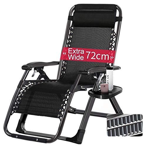 AI LI WEI Home Outdoor/Oversize Zero Gravity Heavy Duty Gens Large avec accoudoir réglable inclinable Porte-gobelet, Soutien 440lbs légère Chaise de Camping (Color : Black)